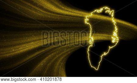 Map Of Greenland, Gold Glitter Map On Dark Background