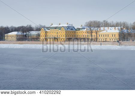 View Of The Old Menshikov Palace (the Palace Of The First Governor Of St. Petersburg) On A Cloudy Fe