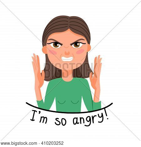 Vector Illustration Of A Light-skinned Girl With Dark Hair In Anger. An Evil Woman. Emotion Sticker