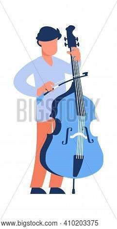 Cartoon Cello Player. Standing Man With String Musical Instrument. Young Musician Playing Classical