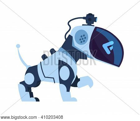 Futuristic Robot Dog. Cartoon Electronic Robotic Toy. Modern Automatic Moving Bot With Remote Contro