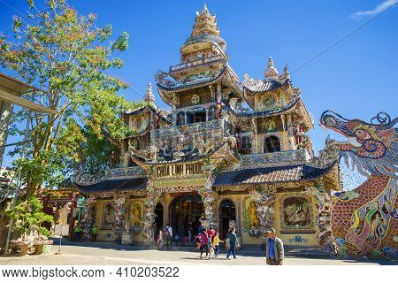 Dalat, Vietnam - Dec 27, 2015: View Of Linh Phuoc Pagoda On A Sunny Day