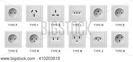 Realistic Socket. 3d White Plastic Devices For Access To Electric Power. Different Types Set Of Conn