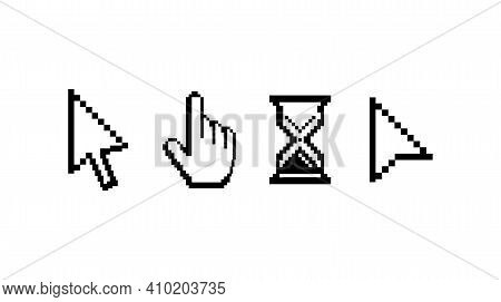 Old Computer Mouse Pointers. Classic Pixelated Cursors. Abstract Arrow Symbols And Hand With Raised