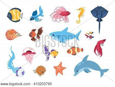 Cartoon Sea Animals. Funny Tropic Underwater Creatures, Colorful Exotic Aquarium Fish Set. Marine St