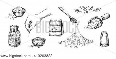 Hand Drawn Salt. Realistic Saltcellar Or Bowl With Salty Flavor Seasoning. Heaps Of Powder And Scoop