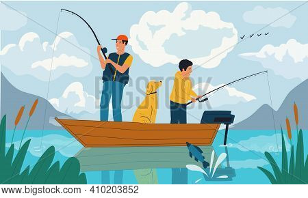 Family Fishing. Cartoon Father And Son Catching Fish With Rods From Boat On Lake. Summer Hobby And O