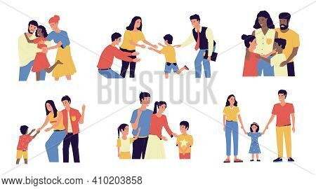 Adoption. Cartoon Young Couple Adopt Happy International Kids. Cute Scenes Of Cheerful Foster Parent