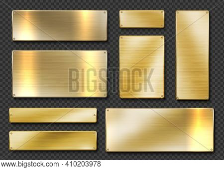 Gold Plates. Realistic Golden Metal Banners. 3d Screwed Shiny Boards On Transparent Background. Isol