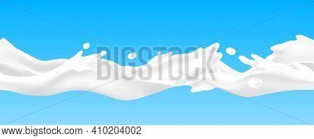 Milk Splash Seamless Pattern. Realistic Yoghurt Horizontal Stream. Dairy Product White Wave On Blue