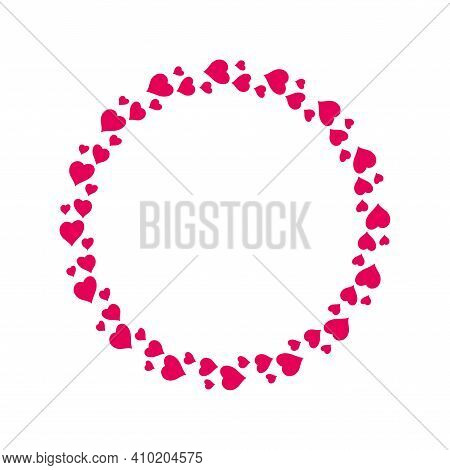 Circular Round Frame From Pink Hearts. Flat Vector Illustration Isolated On White.