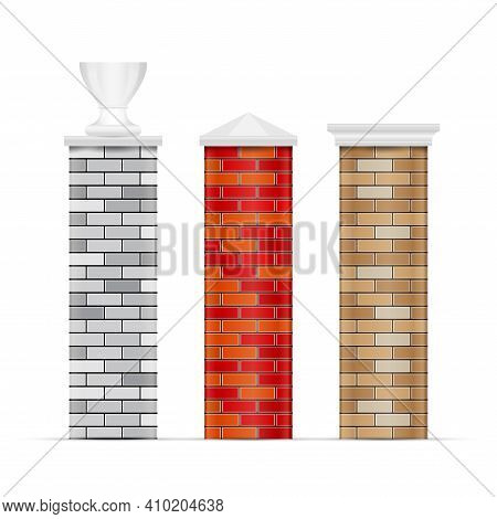 Brick Fence Posts With Caps. 3d Vector Illustration Isolated On White.