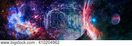 Galaxy With Star And Space Dust In The Universe And Deep Planet Night Sky . Elements Of This Image W
