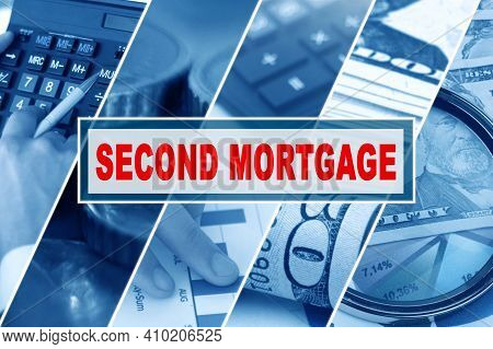 Business And Finance Concept. Collage Of Photos, Business Theme, Inscription In The Middle - Second