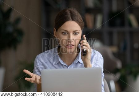 Mad Woman Talk On Cell Frustrated By Computer Problem