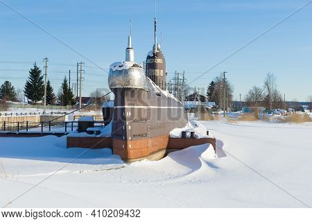 Vytegra, Russia - February 23, 2020: Soviet Submarine B-440 On A Sunny February Day. Museum In The V