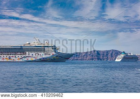 Santorini, Greece - October.10.2019: Norwegian Star Is A Cruise Ship Owned And Operated By Norwegian