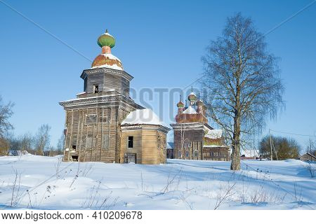 Ancient Wooden Churches Of Archangel Michael And The Presentation Of The Lord On A Sunny February Da