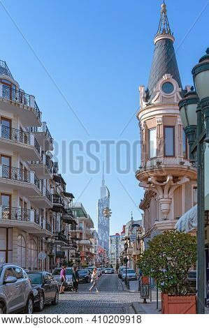 Cozy City Street With A Cobblestone Road And Beautiful Buildings. Old Center Of Batumi. Adjara, Geor