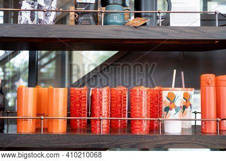 Bangkok, Thailand - February 28, 2021 : The Collection Of Mug And Tumbler On Display. The Coffee Lov