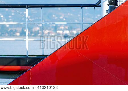 Abstract Geometry Background With Detail Of Red Ship Hull At Blue Sea Background.  Nautical Backdrop