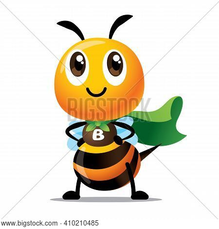 Cartoon Cute Bee  With Superhero Costume Ready To Save The World. Cute Bee With Green Cloak Protect