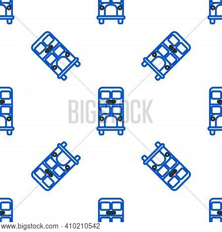 Line Double Decker Bus Icon Isolated Seamless Pattern On White Background. London Classic Passenger