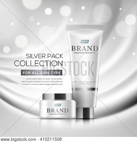 Cosmetic Ads Template With Glossy Bottles On Creative Silver Background In 3d Illustration