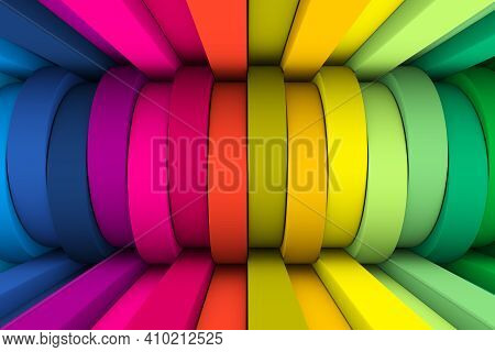 Colorful Wheels Abstract Background 3d Render Illustration