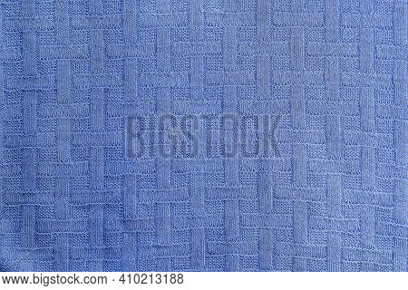 Blue Wool Texture Fabric. Factory Wool Knit. Fabric Background.