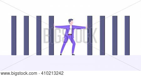 Stop Domino Effect Business Resilience Metaphor Vector Illustration Concept. Adult Young Businessman