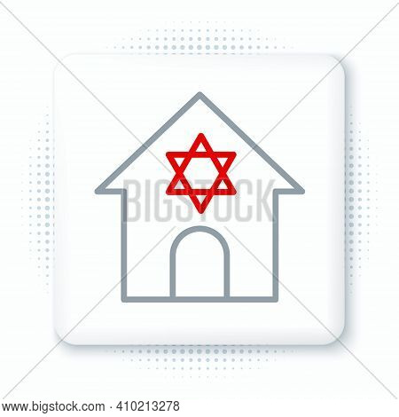 Line Jewish Synagogue Building Or Jewish Temple Icon Isolated On White Background. Hebrew Or Judaism