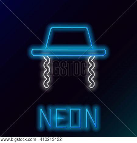 Glowing Neon Line Orthodox Jewish Hat With Sidelocks Icon Isolated On Black Background. Jewish Men I