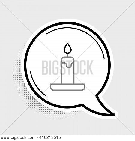Line Burning Candle In Candlestick Icon Isolated On Grey Background. Cylindrical Candle Stick With B