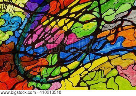 Mental Health, Modern Methods Of Treatment. Art Therapy. Neurographic Drawing. Abstract Multi-colore