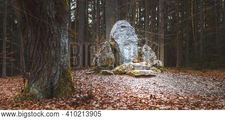 Trocnov, Czech Republic - 02 26 2021, Memorial To Czech National Hero Jan Zizka, Birthplace Of John