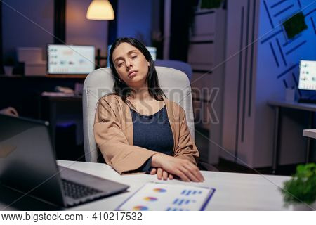Overworked Stressed Woman Sleeping Laying Chair Back Support In The Course Of Deadline. Employee Fal