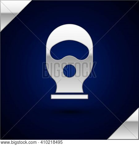 Silver Balaclava Icon Isolated On Dark Blue Background. A Piece Of Clothing For Winter Sports Or A M