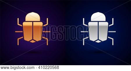 Gold And Silver System Bug Concept Icon Isolated On Black Background. Code Bug Concept. Bug In The S