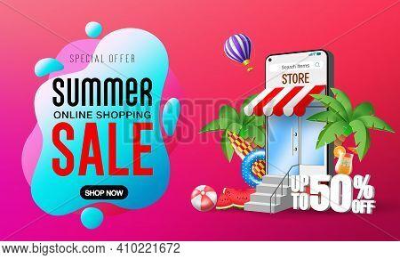 Summer Sale Vector Banner Design. Summer Online Shopping Sale Text With Smartphone Online Applicatio