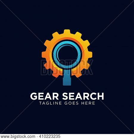 Gear Search Logo - Wheel Or Pinion And Loupe Or Magnifier Symbol. Industry, Equipment And Repair Vec