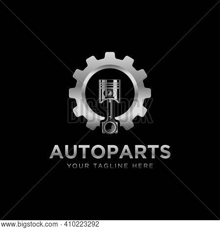 Autoparts In Gear, Auto Piston, Logo Design. Automotive Parts, Automobile Detail And Repairing Car,