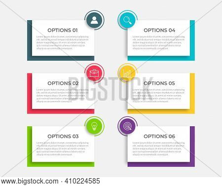 Vector Infographic Label Template With Icons. 6 Options Or Steps. Infographics For Business Concept.