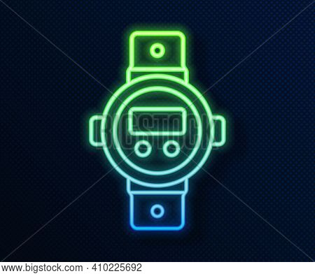 Glowing Neon Line Diving Watch Icon Isolated On Blue Background. Diving Underwater Equipment. Vector