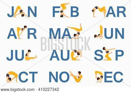 12 Yoga Pose Or Asana Posture For Calendar Template Design. Asana Posture For Calendar Header Templa