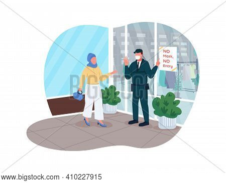 Covid Pandemia Store Rules 2d Vector Web Banner, Poster. Wearing Plastic Mask To Enter Shops. Safety