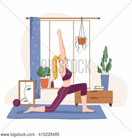 Woman Doing Yoga At Home, Female Personage Standing In Pose Practising Asana. Relaxation During Quar