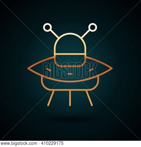 Gold Line Ufo Flying Spaceship Icon Isolated On Dark Blue Background. Flying Saucer. Alien Space Shi