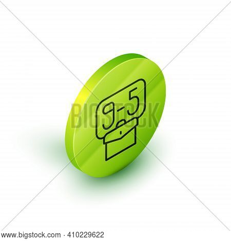 Isometric Line From 9:00 To 5:00 Job Icon Isolated On White Background. Concept Meaning Work Time Sc