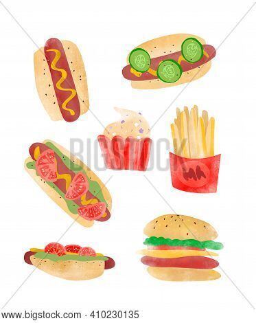 Fast Food Elements. Hotdog, Hamburger, Fries And Muffins. Watercolor Style. Type Of Hotdogs. Jank Fo
